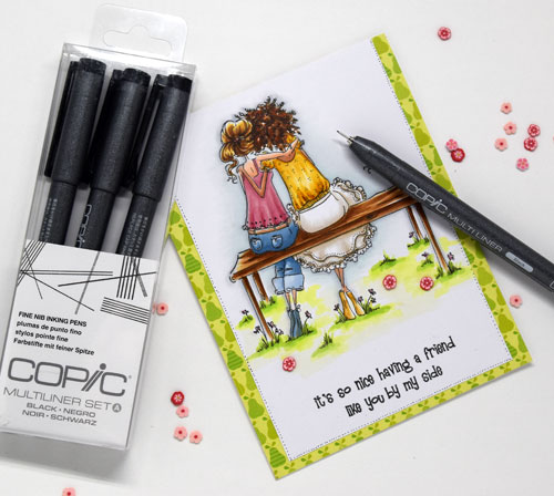 Using Copic Fine Nib Multiliners to add detail to stamped image