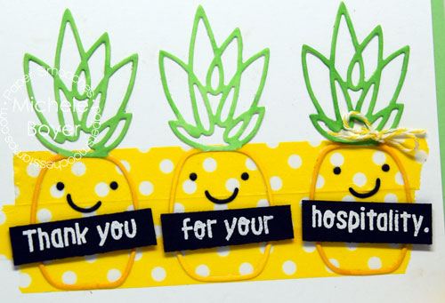 Paper Smooches pineapple hospitality card (close-up)