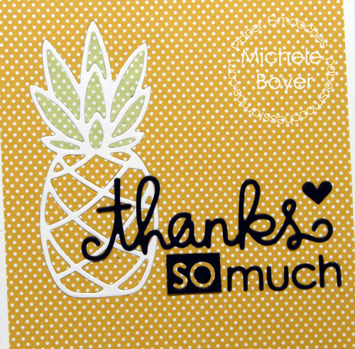 Paper Smooches pineapple thanks card (close-up)