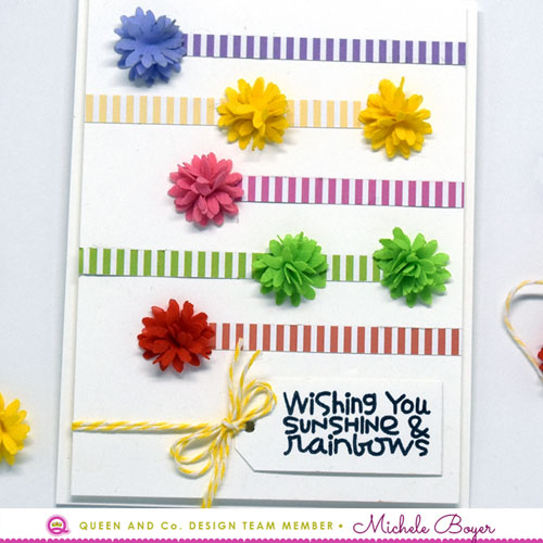 Queen & Company Pom Flowers, paper/Paper Smooches (sentiment) - close-up