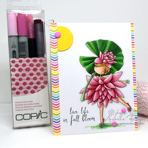 Copic Pink Doodle Pack/Tiny Town Garden Girl Waterlily, Stamping Bella