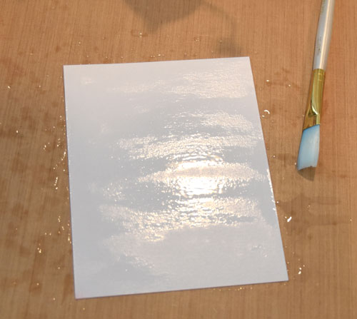 Watercolor background using Copic Various Ink - Step 1 Saturate card stock with Colorless Blending Solution