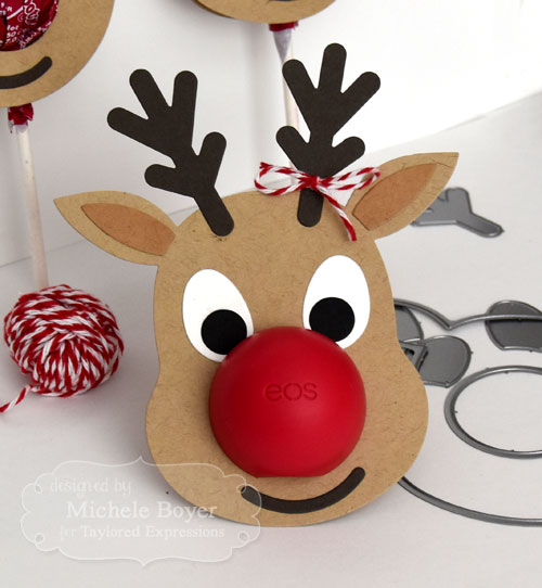 Taylored Expressions Reindeer Pops (close-up with EOS lip balm)