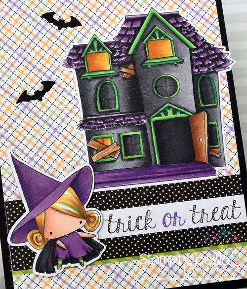 Stamping Bella Little Bits Witches and Haunted House (close-up)