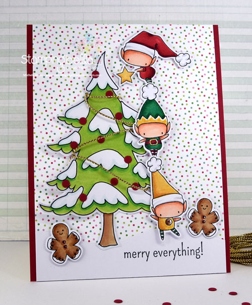 Stamping Bella Little Bits Set of Elves and Winter Tree