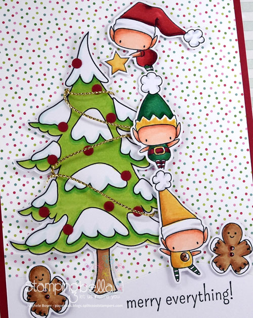 Stamping Bella Little Bits Set of Elves and Winter Tree (close-up)