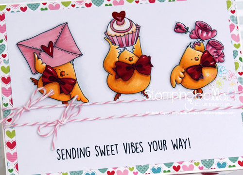 Stamping Bella Valentine Chicks (close-up)