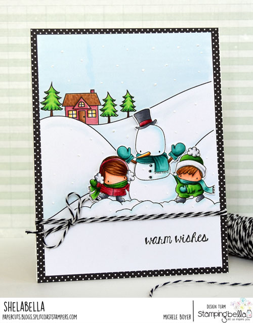 Stamping Bella Winter Backdrop and Snowman Love