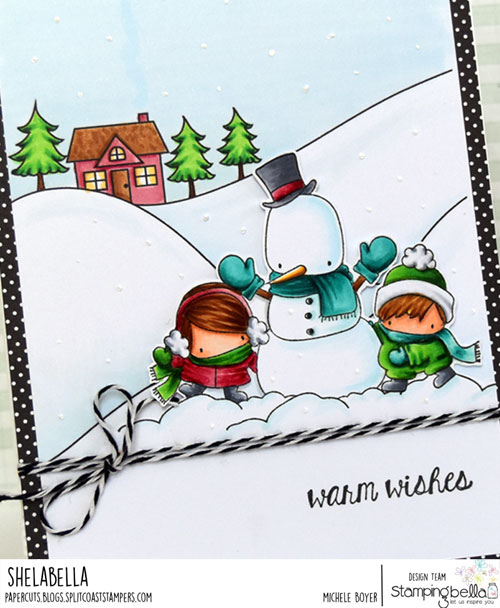 Stamping Bella Winter Backdrop and Snowman Love (close-up)