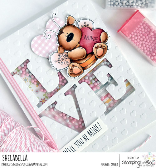 Stamping Bella Bee Mine/Queen & Company LOVE Foam Front (close-up)