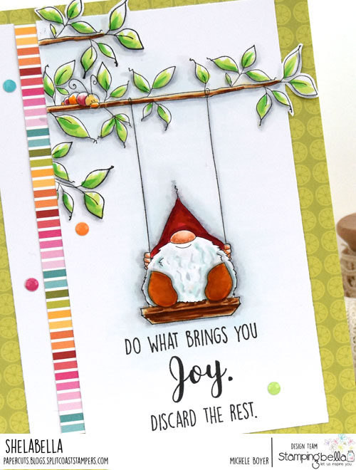 Stamping Bella Gnome On a Swing (close-up)