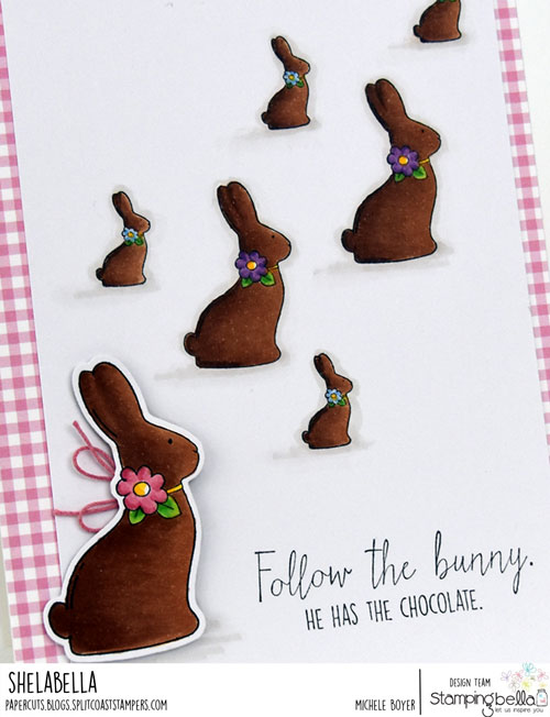 Stamping Bella Chocolate Bunnies (close-up)