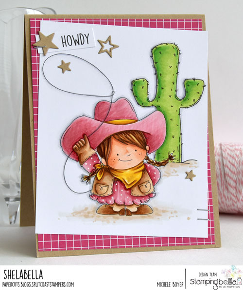 Stamping Bella Squidgy Cowgirl and Cactus