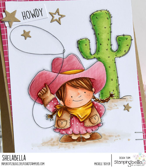 Stamping Bella Squidgy Cowgirl and Cactus (close-up)