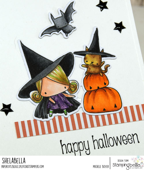 Stamping Bella Littles Pumpkin with a Witchy on Top (close-up)