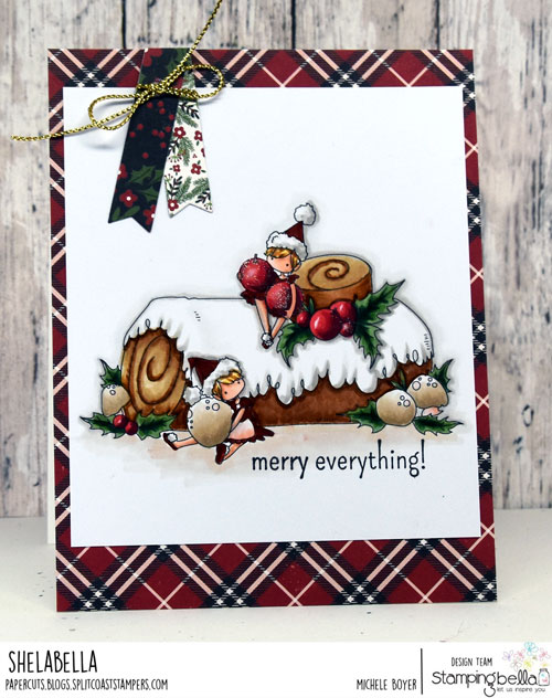 Stamping Bella Teeny Tiny Townie on a Yule Log