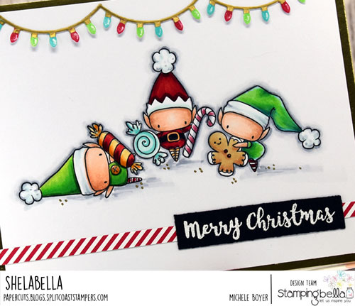 Stamping Bella The Littles Elves with Treats (close-up)