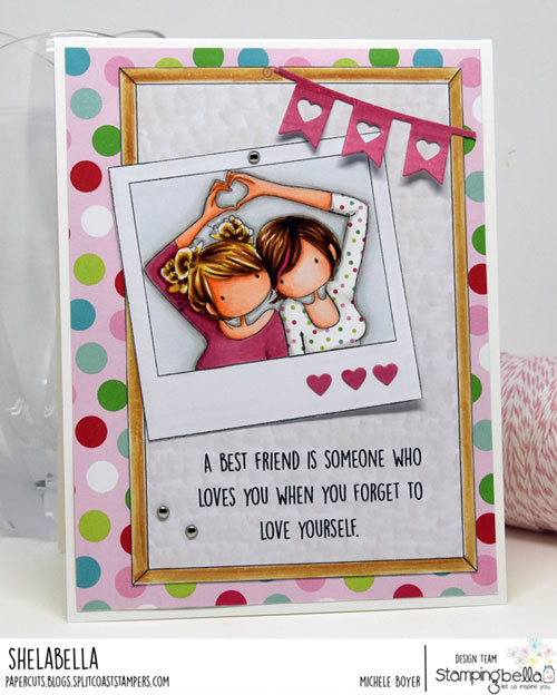 Stamping Bella Uptown Girls Snapshots I Heart You and Corboard Backdrop