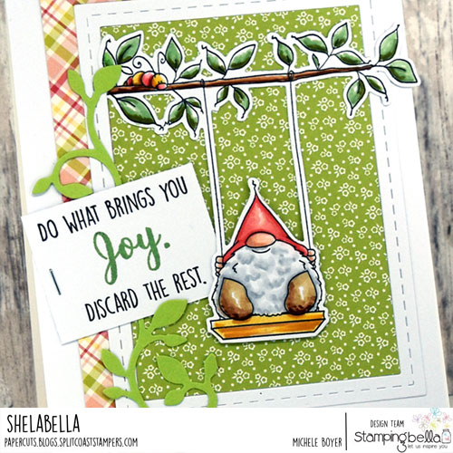 Stamping Bella Gnome on a Swing (close up)