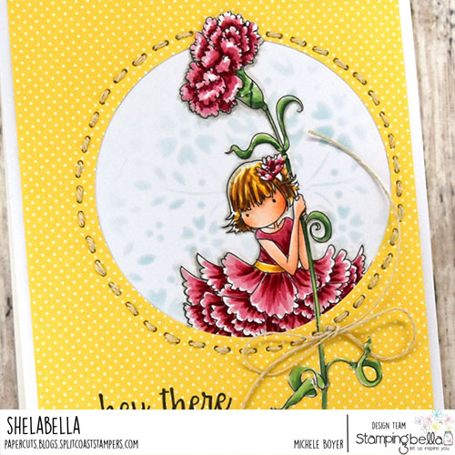 Stamping Bella Tiny Townie Garden Girl Carnation (close-up)
