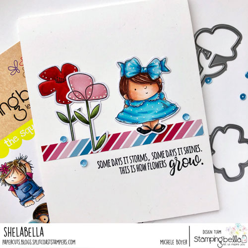 Stamping Bella Squidgy Pals, Little Bits Floral Set, Garden Girl Flower Sentiments