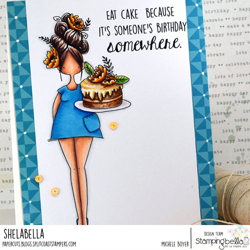 Stamping Bella Curvy Girl Eats Cake (close-up)