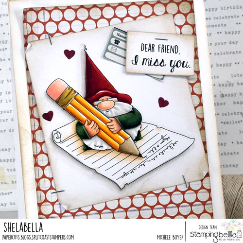Stamping Bella The Gnome and the Letter (close-up)