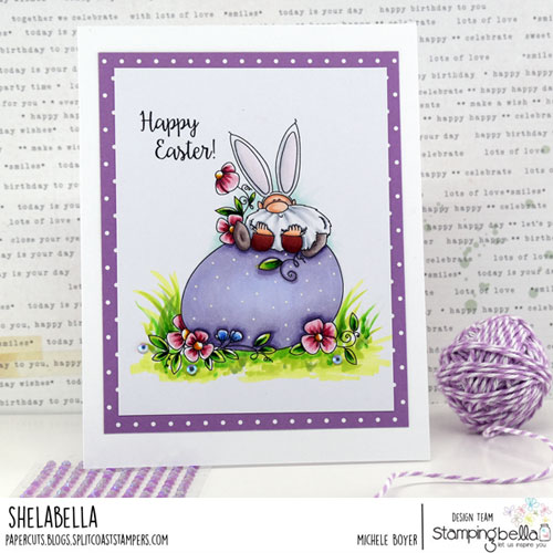 Stamping Bella Gnome on an Egg