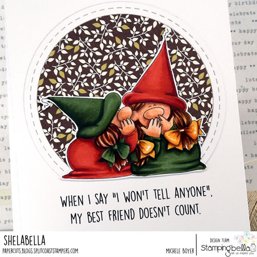 Stamping Bella Gnomes with a Secret (close-up)