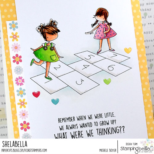 Stamping Bella Tiny Townies Playing Hopscotch (close-up)
