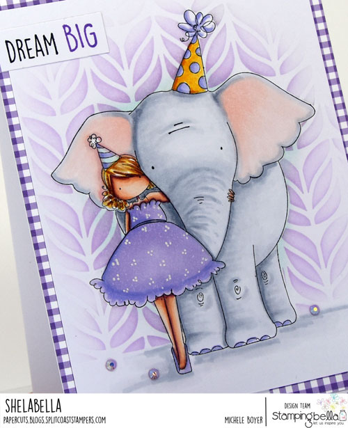 Stamping Bella Tiny Townie with an Elephant (close-up)