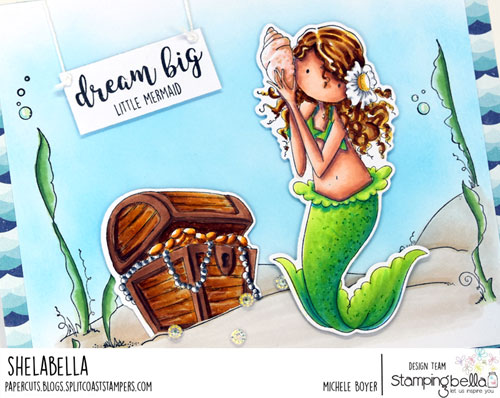 Stamping Bella Tiny Townie Mermaid, Under the Sea Backdrop (close-up)