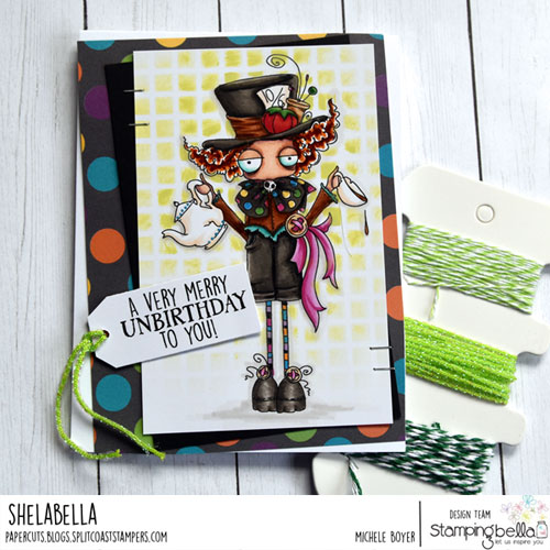 Stamping Bella Oddball Madhatter and Alice Sentiment