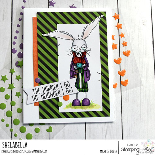 Stamping Bella Oddball March Hare with Alice Sentiment