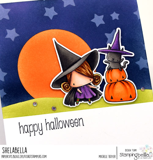 Stamping Bella The Littles Pumpkin with a Witchy on Top (close-up)