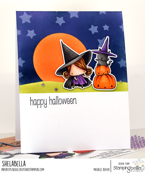 Stamping Bella The Littles Pumpkin with a Witchy on Top