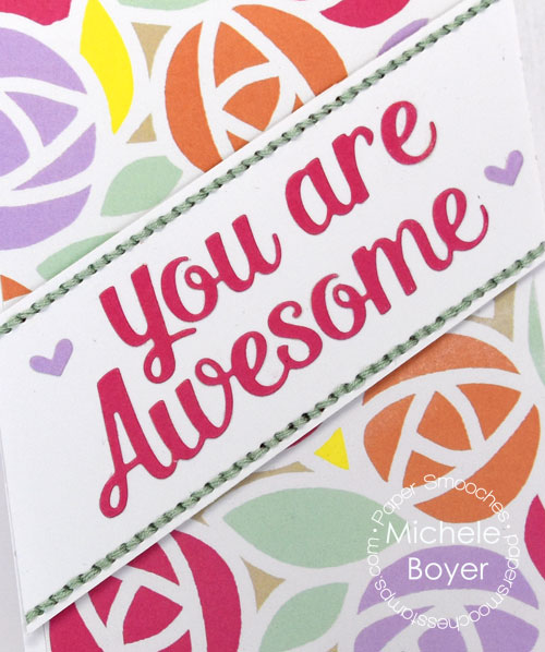 Paper Smooches Awesome & Amazing dies, Rainbow Sherbet paper pack (close-up)