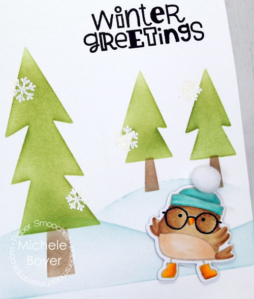 Paper Smooches Winter Greetings and Scene Builder stencil (close-up)