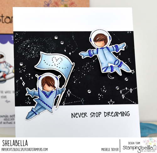 Stamping Bella Tiny Townie Astronauts and Starry Sky Backdrop
